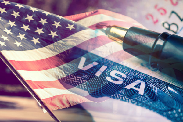 Visa Document with USA